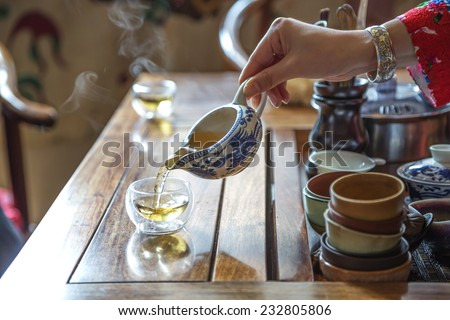 Chinese tea ceremony - stock photo