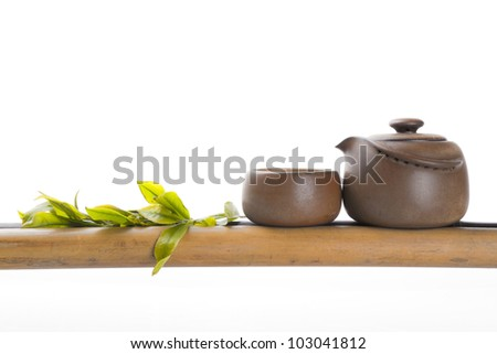 chinese tea ceremony at bamboo with white background - stock photo