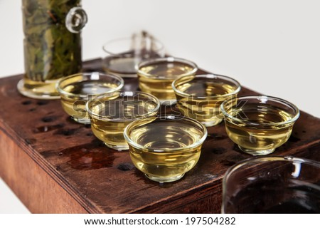 Chinese tea ceremony. Tea Set over white background