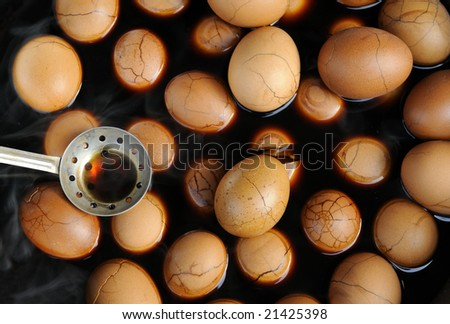Chinese Tea Eggs, the peel is cracked intentionally to allow spices and flavor to seep in