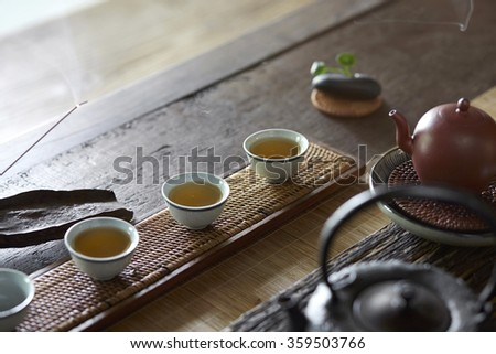 Chinese tea set on old wooden table