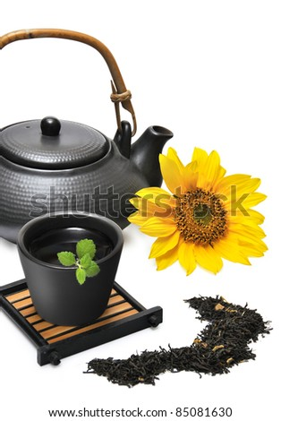 Chinese Tea Set with Teapot and cup isolated on white - stock photo