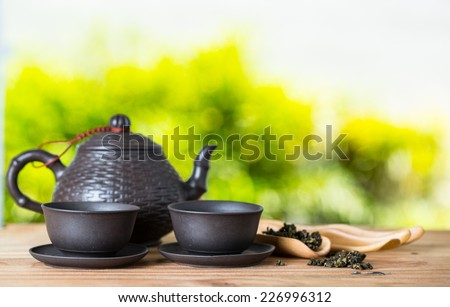 Chinese teapot for breakfast in the morning - stock photo