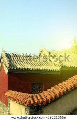 Chinese temple architecture, closeup of photo