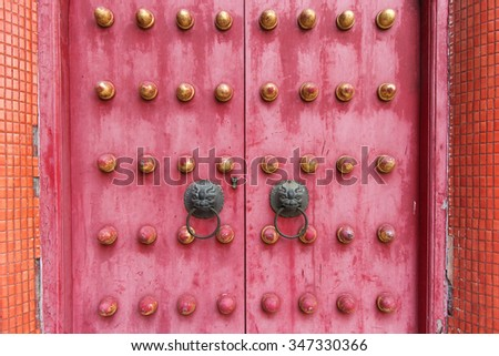 Chinese temple doors - stock photo