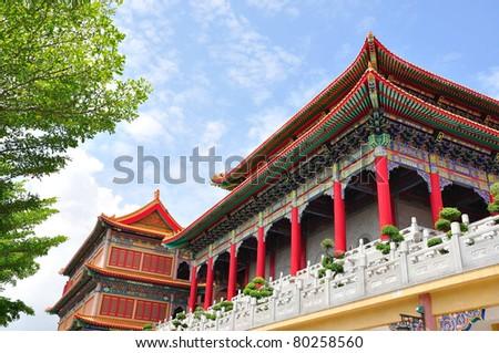 chinese temple in Thailand (wat nang lui yee2, dragon2) - stock photo