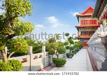 chinese temple with blue sky  - stock photo