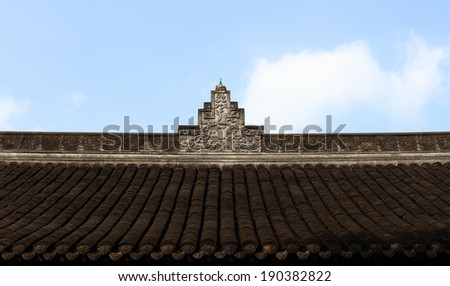 Chinese temples carved gray roof - stock photo