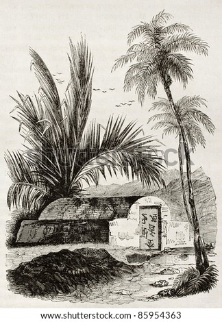 Chinese tomb old illustration, Ambon, Moloku islands. By unidentified author, published on Magasin Pittoresque, Paris, 1842 - stock photo