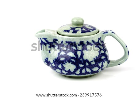 Chinese tradition pattern tea pot on white
