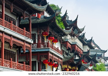 Chinese traditional buildings in Shanghai  - stock photo