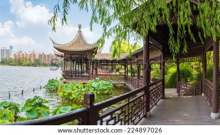 chinese traditional corridors in nanjing mochou lake - stock photo