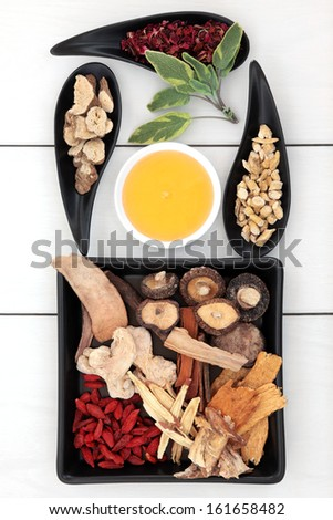 Chinese traditional herbal medicine selection with honey.  - stock photo