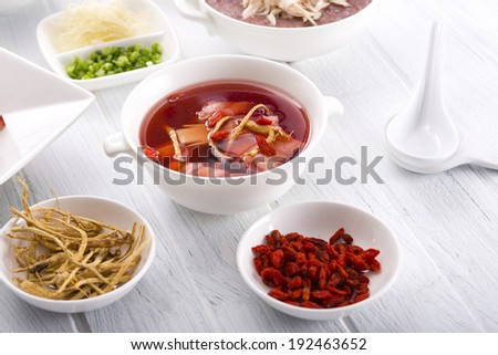 Chinese traditional herbs and medicine - stock photo