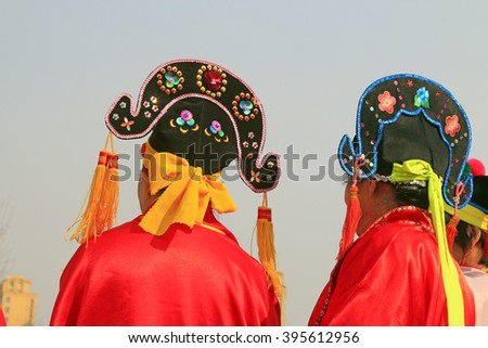 Chinese traditional style yangko folk dance performance in the street, luannan County, hebei Province, China