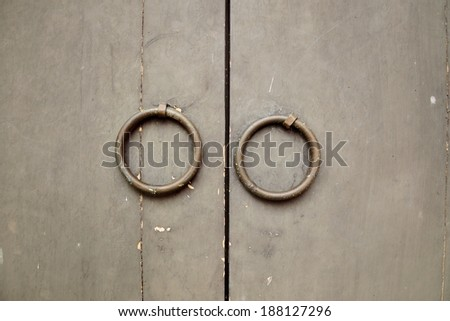 Chinese Traditional Wooden Door with Knocker - stock photo