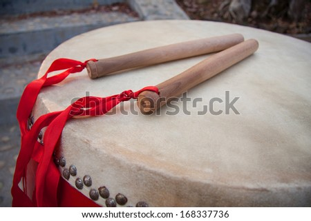 Chinese Traditional Wooden Drum - stock photo