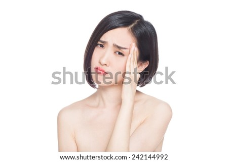 chinese woman facial expressions, white background - stock photo