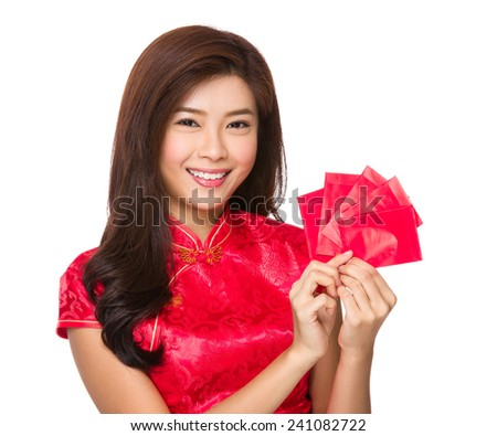 Chinese woman hand hold with pocket money - stock photo