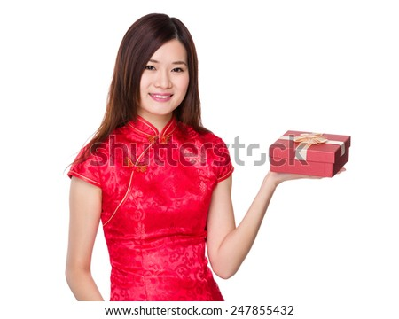 Chinese woman hold with gift box
