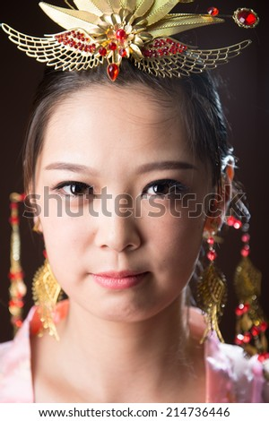 Chinese woman wearing traditional costumes