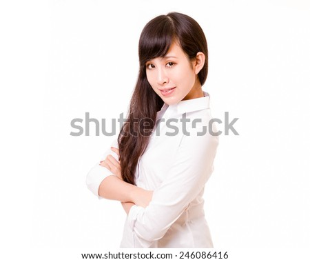 Chinese woman with arms crossed looking at camera