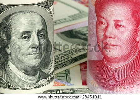 Chinese yuan and us dollars, concept of exchange competition - stock photo
