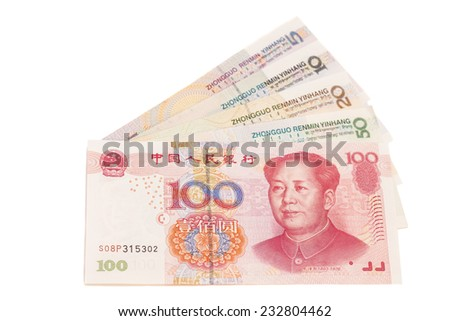Chinese yuan banknotes isolated on white background - stock photo