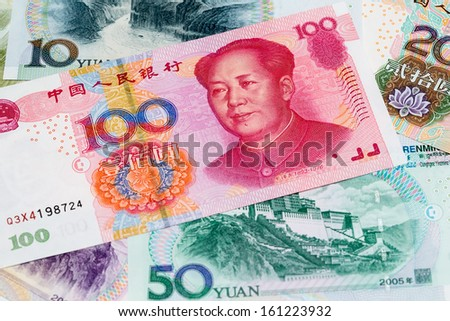 Chinese yuan close up view as a background - stock photo