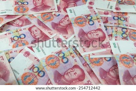 Chinese yuan renminbi banknotes - stock photo
