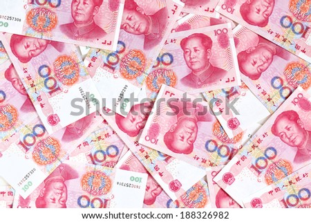 Chinese yuan renminbi banknotes close-up - stock photo
