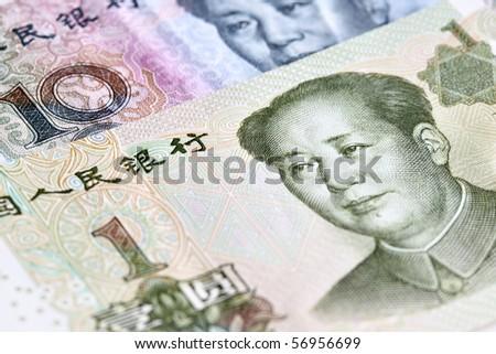 Chinese yuan renminbi  (RMB) banknotes close up - stock photo