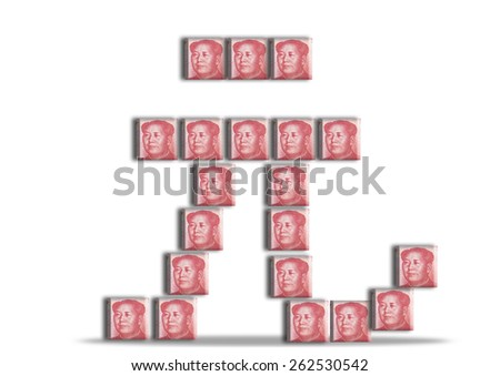 Chinese Yuan sign made up of Renminbi bank notes - stock photo