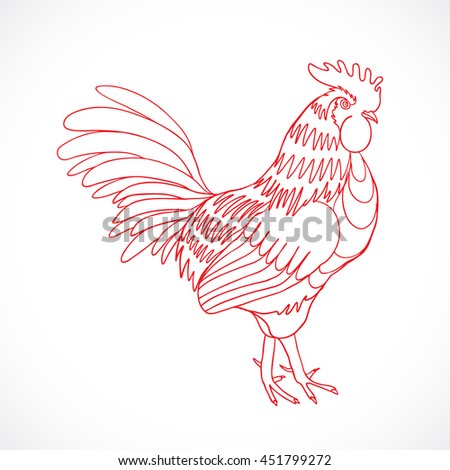 Chinese zodiac rooster design element for Chinese New Year decoration. Image of a hand drawing cock or rooster with red outline on grey background. Drawing for coloring. - stock photo