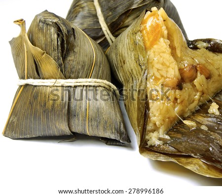 Chinese zongzi isolated on white for Dragon Boat Festival                            - stock photo