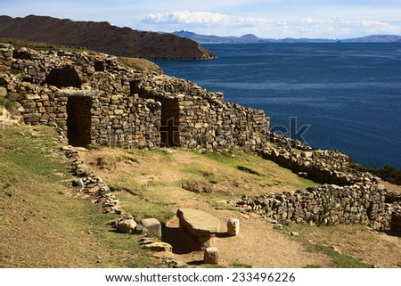 Chinkana (meaning labyrinth in quechua) archeological site of Tiwanaku (Tiahuanaco) origin on Isla del Sol (Island of the Sun) in Lake Titicaca, Bolivia. Isla del Sol is a popular tourist destination - stock photo
