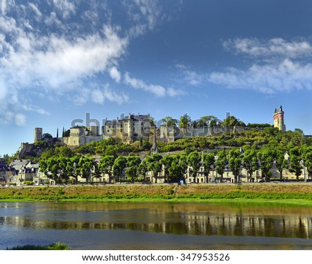 Chinon walled castle. Chinon is a commune located in the Indre-et-Loire department in the Region Centre. The Loire Valley with its castles is UNESCO World Heritage Site, France - stock photo