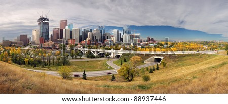 Chinook Arch, Calgary, Alberta, Canada Center Street Bridge, - stock photo