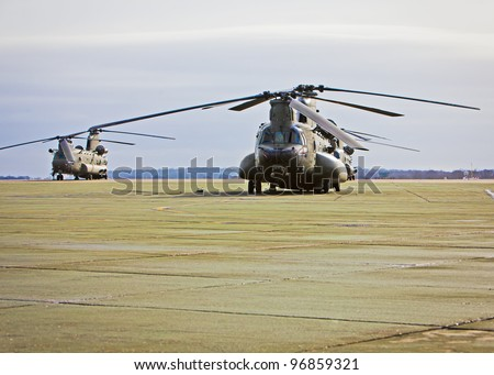 Chinook helicopter on a military airbase - stock photo