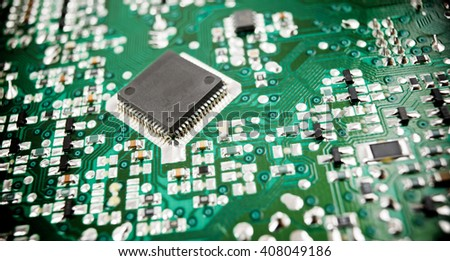 Chip close up on a integrated circuit.