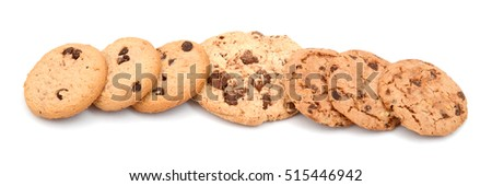 Chip cookies isolated on white