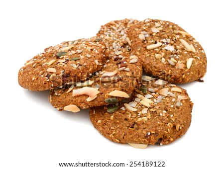 chip cookies on white background - stock photo