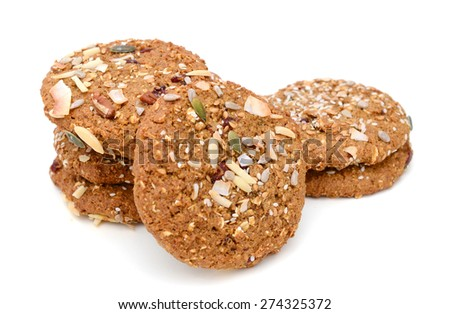 chip cookies on white background