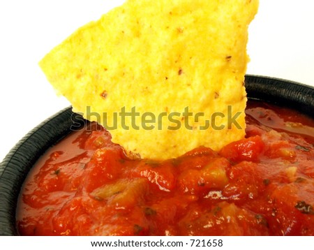 chip in salsa - stock photo
