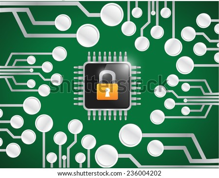 chip lock security illustration design over a network connection background - stock photo