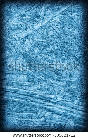 Chipboard Rear Side, Marine Blue Stained, Rough, Extra Coarse, Vignette Grunge Texture Detail. - stock photo