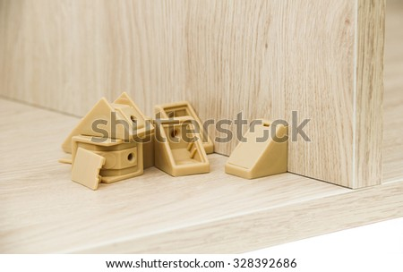 Chipboard with connector - stock photo