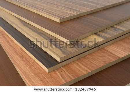 Chipboard without PVC edge. - stock photo