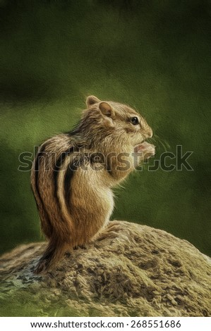 Chipmunk Eating - stock photo