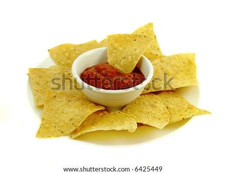 Chips and Salsa on a white plate. - stock photo